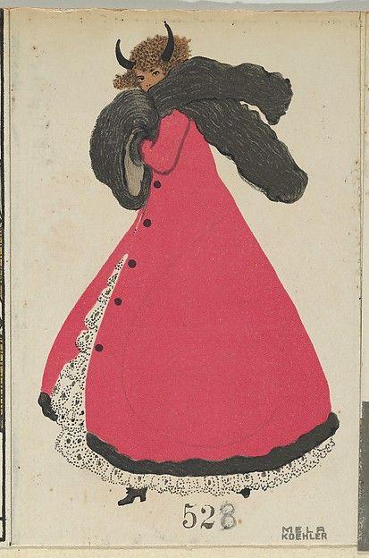 Krampus Card, Artist: Mela Koehler (Austrian, Vienna 1885–1960 Stockholm) Publisher: Wiener Werkstätte Date: 1911