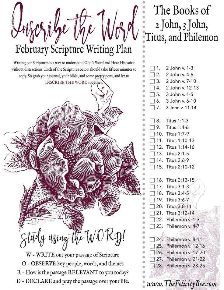 Join us this month as we write the epistles of 2 and 3 John, Titus, and Philemon. This Scripture Writing Plan will take you through the Bible like never before. It will enhance your bible study and bring you closer to Jesus as you inscribe the word. CLICK HERE to download Your February Scripture Writing Plan!