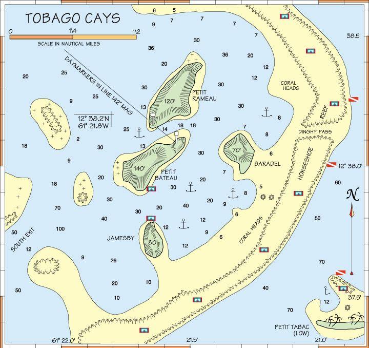 Tobago Island: Tobago Cays Map - Google Search