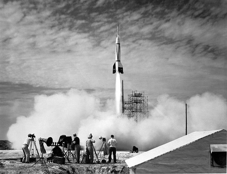 The Launch of the first rocket form Cape Canaveral, Florida, 24 July 1950, public domain via Wikimedia Commons.