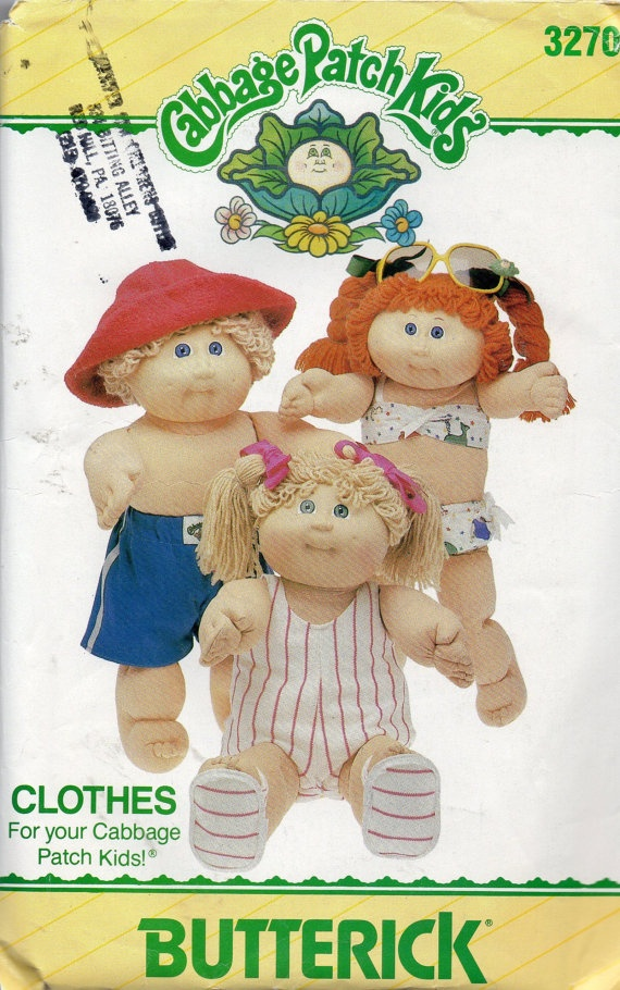 Vintage 1980s Butterick 3270 Cabbage Patch Kids Doll Clothes Pattern for a Day at the Beach.  Oh my goodness, I had the little boy one that a nurse gave me when I was in the hospital during Christmas, his name was Gilly ray! My sister had the redhead!!
