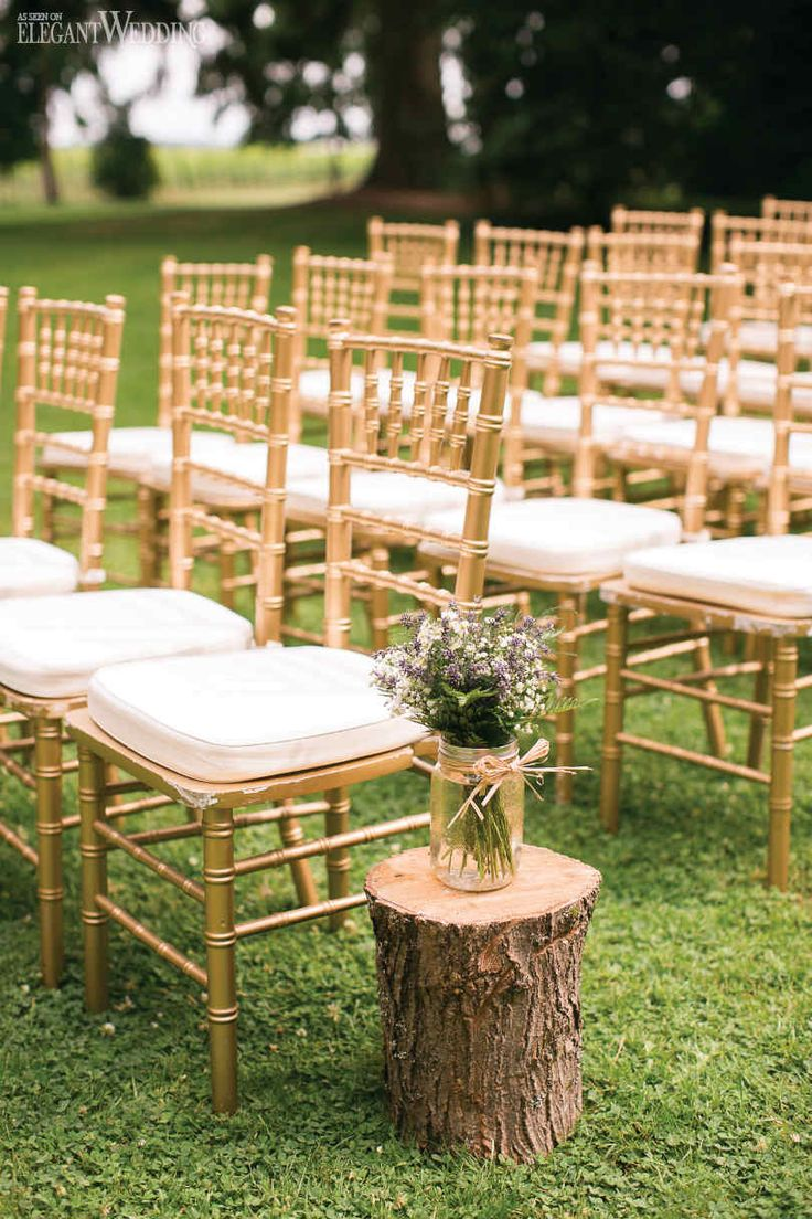 Heather & Sean   Scottish Roots   Photos: Eva Derrick Photography   Venue: Honsberger Estate   Catering, Linens & Rentals: Feastivities Events & Catering   Florist: Country Basket Flower Boutique   Rustic Wedding Decor Gold Seating