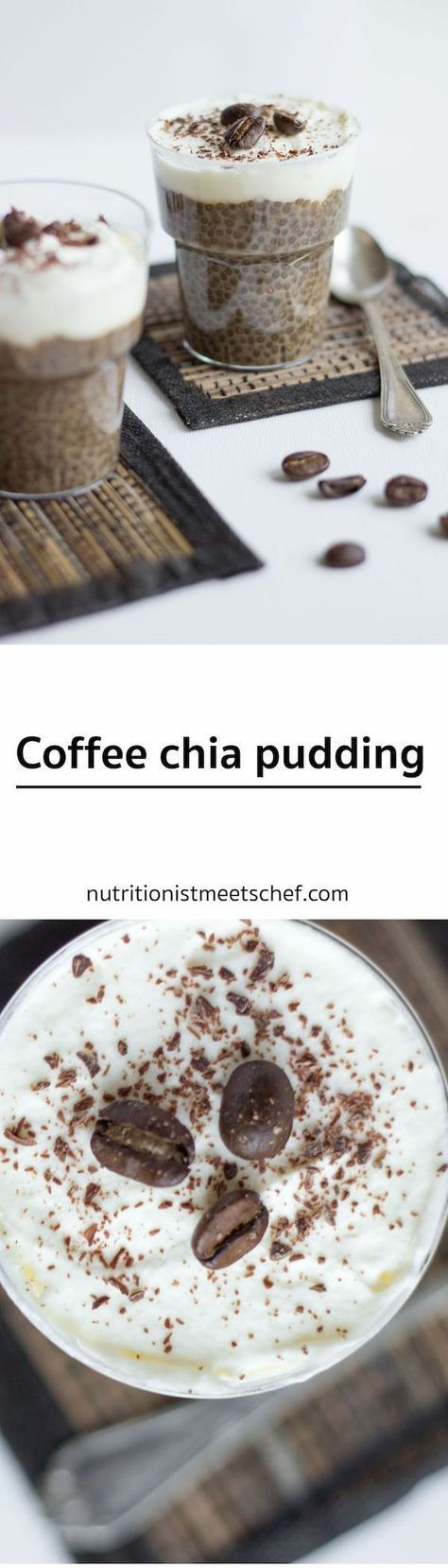Coffee Chia Pudding! Perfect dessert for all coffee lovers! Change milk to unsweetened almond milk, no sweetener and top with a drizzle of coconut butter....yum.