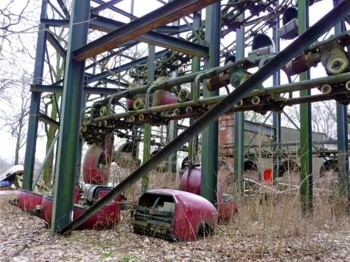 Abandoned Spreepark - Cars fallen off the track. This ride was said to be open for 1 day.