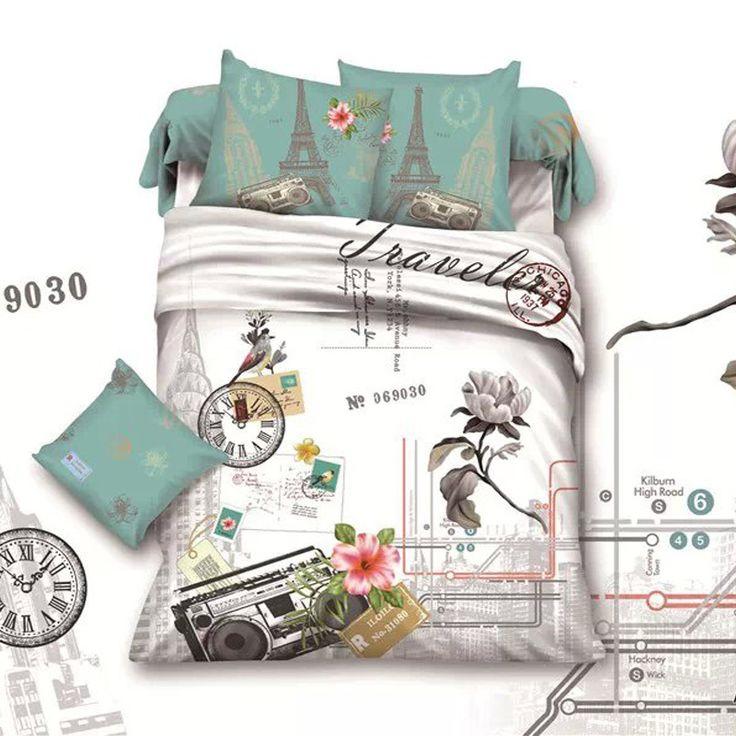 Barato França torre Eiffel flor cama rainha consolador tampa de cama folha fronha cama em um saco de algodão conjuntos de quarto, Compro Qualidade Roupas de cama diretamente de fornecedores da China:                      Item:  Sem edredom na capa de edredão, sem travesseiro.                              4pcs incluem: