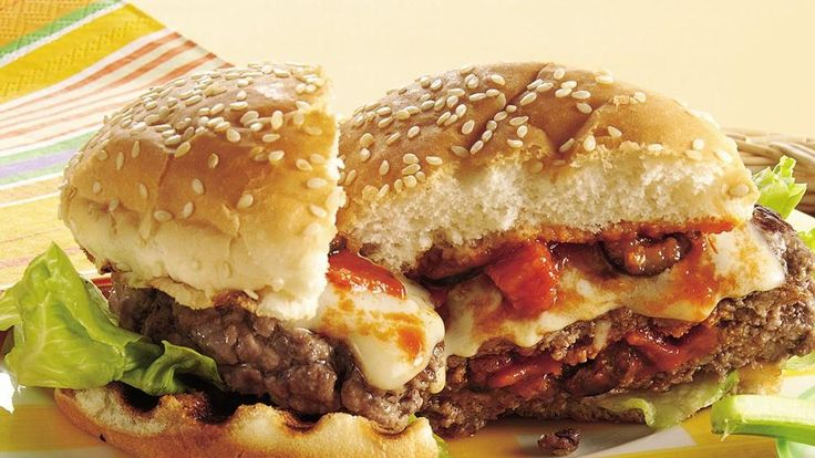 Grilled Stuffed Pizza Burgers..Two all-time favorite foods together in one terrific sandwich!