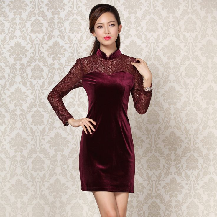 Elegant Long Lace Sleeves Modern Short Velvet Qipao - Claret - Qipao - Cheongsam - Women