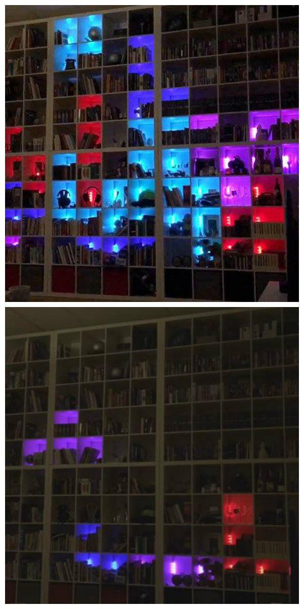 Øyvind Berntsen недавно изменил свой домашний книжный шкаф в игру Tetris с помощью серии светодиодных огней и специального программирования для воспроизведения через свой компьютер. Книжный шкаф - Тетрис, был разработан разработан через компьютерную программу, где Øyvind Berntsen трансформировал каждую из светодиодных полок в части головоломки. #светодиодныйшкаф #книжныйшкаф #подсветка #светодиоднаяподсветка #светодиодныйкнижныйшкаф #светодиоды #освещение #декоративнаяподсветка #дизайн