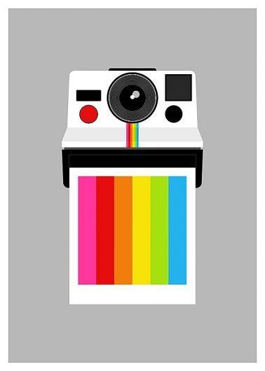graphic design, illustration, polaroid, rainbow: