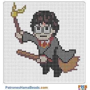 Harry Potter plantilla hama bead. Descarga una amplia gama de patrones en formato PDF en www.patroneshamabeads.com