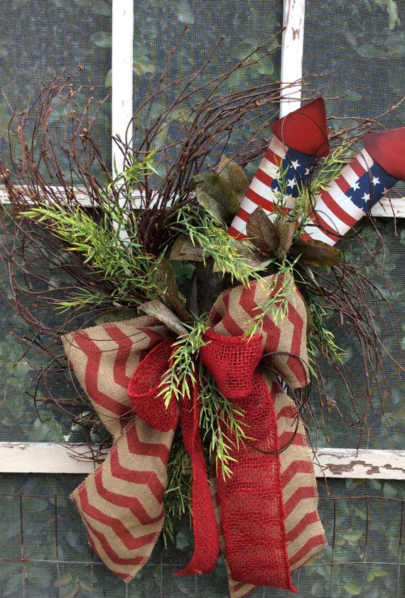 Rocket red, white and blue wreath.