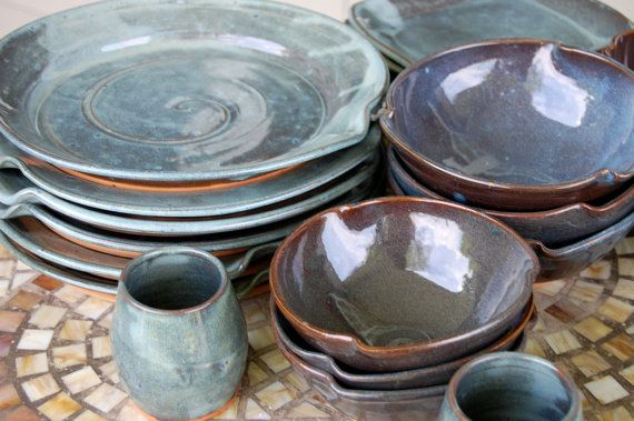 Eclectic Dinnerware Set of 6 Place Settings in by pagepottery
