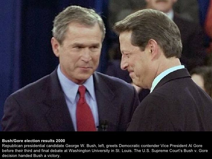 presidential elections between al gore and george w bush Public opinion surveys showed that the race between george bush and al gore would be extremely close the election took place on november seventh more than one hundred million people voted for them.