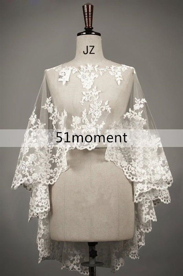 2015 Long Lace Bridal Jacket Bolero Wedding Shawl Wraps Cape White/Ivory Shrug #Jacket