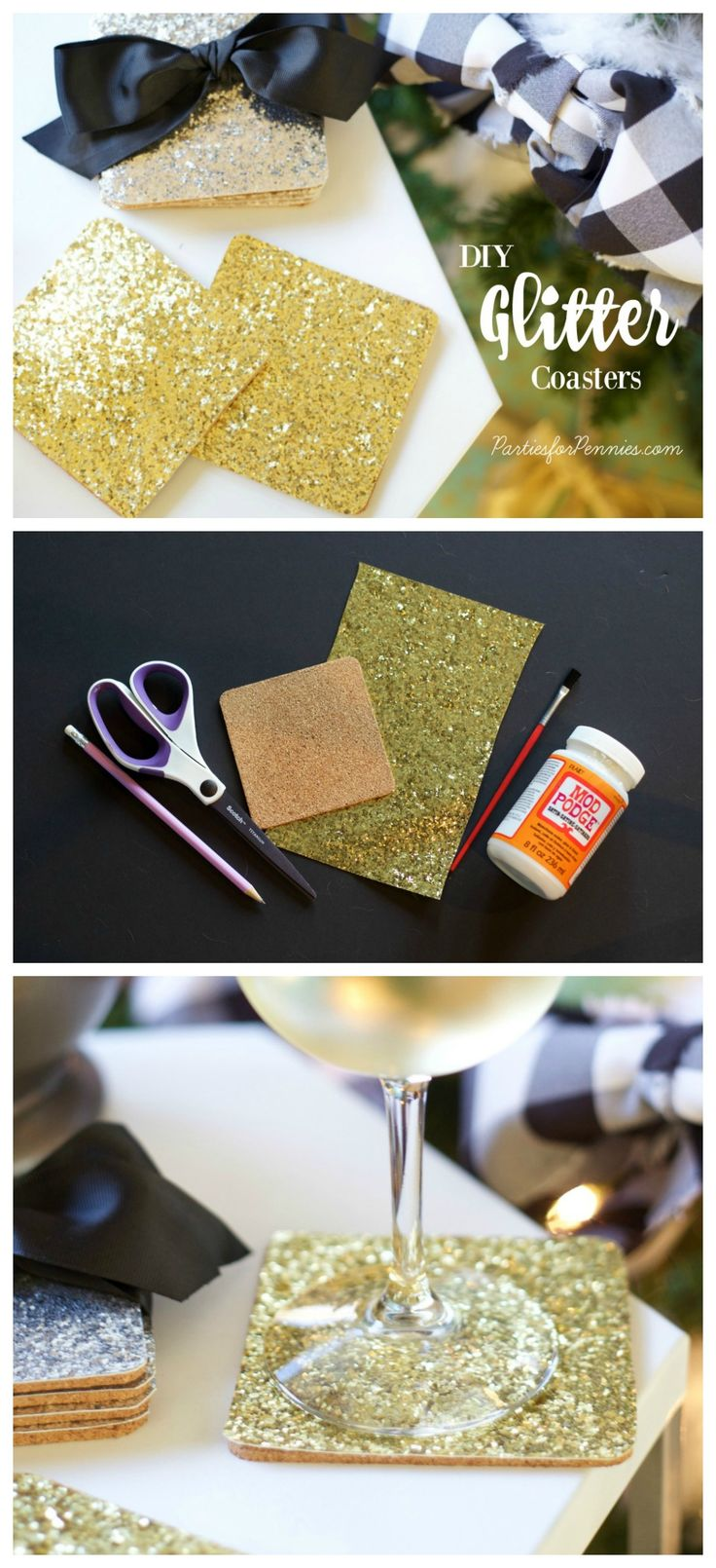 DIY Glitter Coasters by PartiesforPennies.com | Homemade Gift | DIY Gift | Hostess Gift | Gift for Entertainer