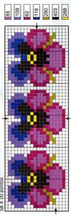 Μικρά μοτίβα με πανσέδες και σχέδια για τραπεζομάντηλα ή καρέ κεντημένα σταυροβελονιά   Small cross stitch motifs and tablecloth cross st...
