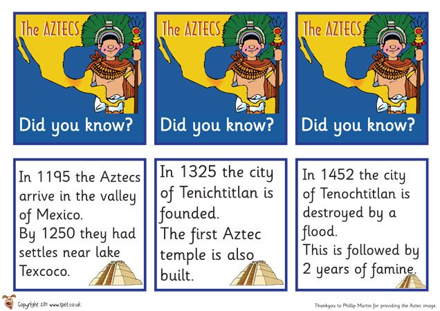 Teacher's Pet - FREE Classroom Display Resources - Aztec Fact Cards
