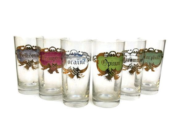 RESERVED For C. Antique Apothecary Glass Set of 6. Cocaine, Opium and Morphine Medical Curiosity Crystal Glasses. Hand Painted Tumblers.