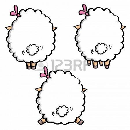 grappige cartoon witte schapen in drie poses. achteraanzicht Stockfoto - 18678089
