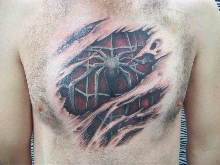 Spiderman Chest Tattoo