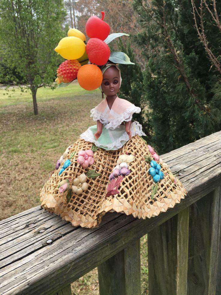 Vintage Tropical Brown Skin Girl Doll--Raffia Placemat Skirt--Fruit Headdress--Sleepy Eye Doll--Travel Souvenir--Jamaican Bahamas Islands by AlloftheAbove on Etsy