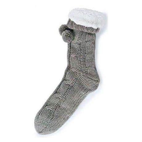 Slipper Socks Cable knit Grey