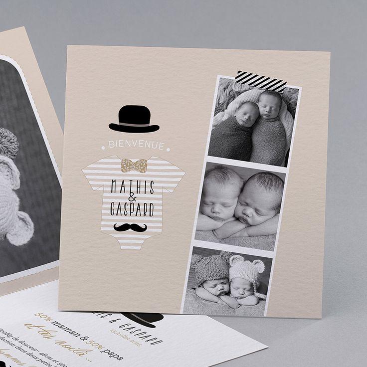 Faire-part de naissance personnalisés, faire-partvintage, ardoise, jumeaux fpc