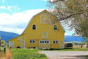I love this yellow barn; looks so happy to me!
