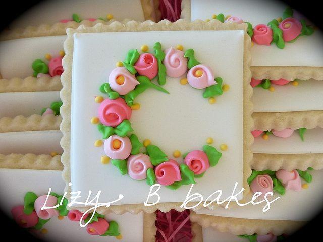 Monogram cookies by lizybbakes, via Flickr