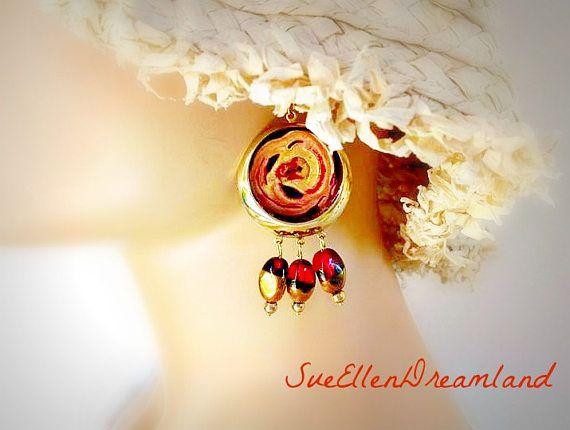 enamel drop earrings,dangle earrings,glamourous handmade earrings,red and gold earrings,OOAK,Ready to ship,gift for her