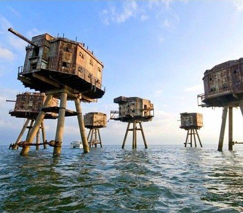 World War II Maunsell Forts - These small towers, fortified with military weapons, were built to defend the United Kingdom and operated as army and navy forts. The Maunsell Forts shot down 22 aircrafts and 30 rockets during WWII. These weapons were decommissioned in 1950s. More unique travel inspiration in Europe can be found on a map on www.broscene.com !