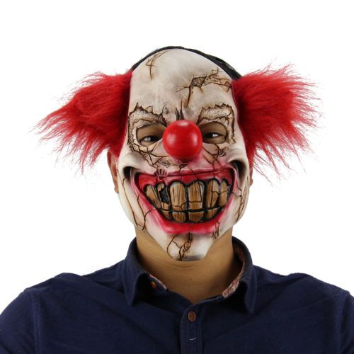 Deluxe Scary Clown Mask Adult Men Latex with Red Hair Halloween Evil Killer CA