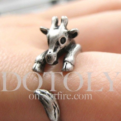 Miniature Baby Giraffe Animal Hug Wrap Ring in Silver - Sizes 4 to 9