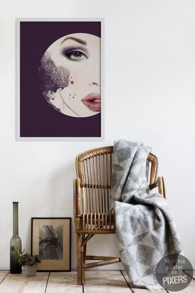 Canvas, poster gezicht van de vrouw aquarellen