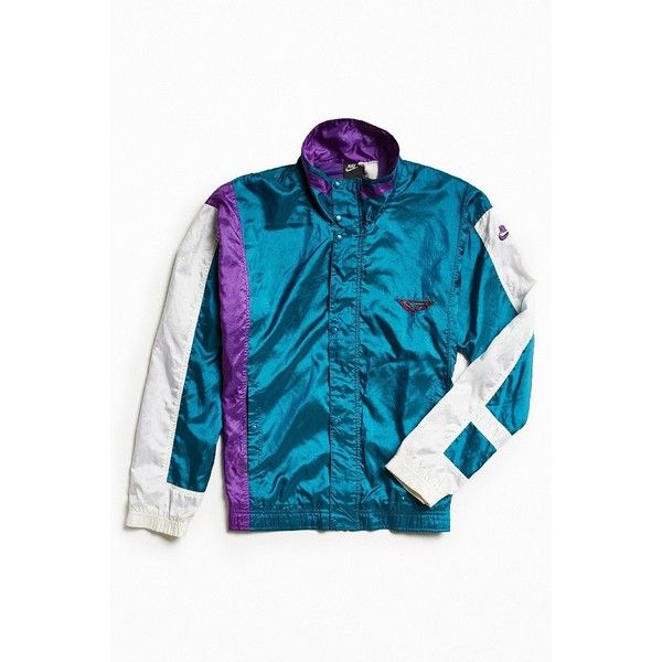 Vintage Nike Windbreaker Jacket ($128) ❤ liked on Polyvore featuring men's fashion, men's clothing, men's activewear, men's activewear jackets and urban outfitters