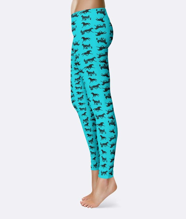Allover standardbred horse illustrations on leggings you'll want to live in! • Fabric is 82% polyester, 18% spandex • Four-way stretch • Elastic waistband • Imported fabric that's cut, sewn, and print
