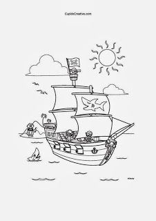 mewarnai bajak laut untuk balita/TK, lembar kerajinan anak,