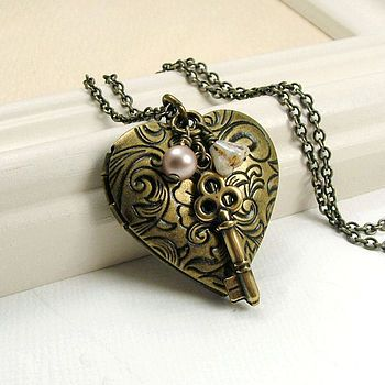 Brass Heart Locket And Key Necklace