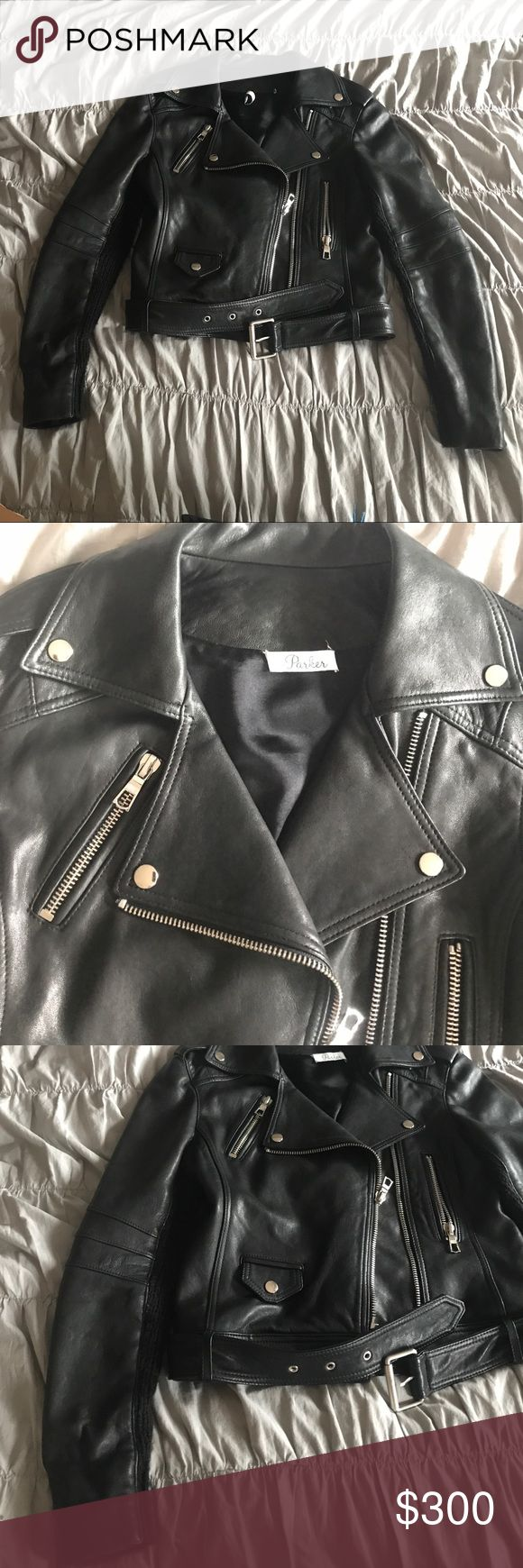 PARKER black leather jacket, sz 4 Parker black leather jacket with biker detail (belt/pockets) and sweater detail for a feminine touch. Sweater detail on the back and also on half of the sleeves (underneath the arms). Great for the fall and layering up in the winter. Parker Jackets & Coats