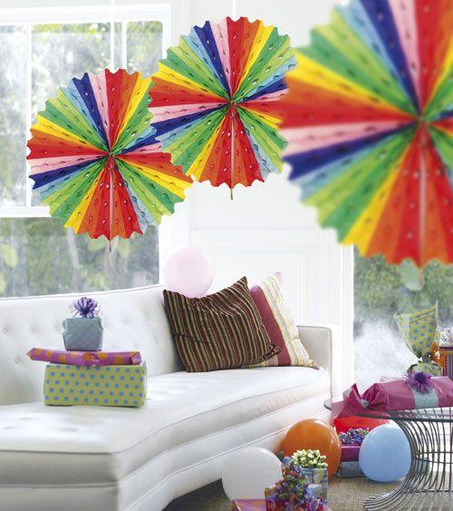 Papier-Deko-Fächer - 45 cm - bunt   Rosetten & Papierfächer   Dekoration   Pink Dots - Partystore