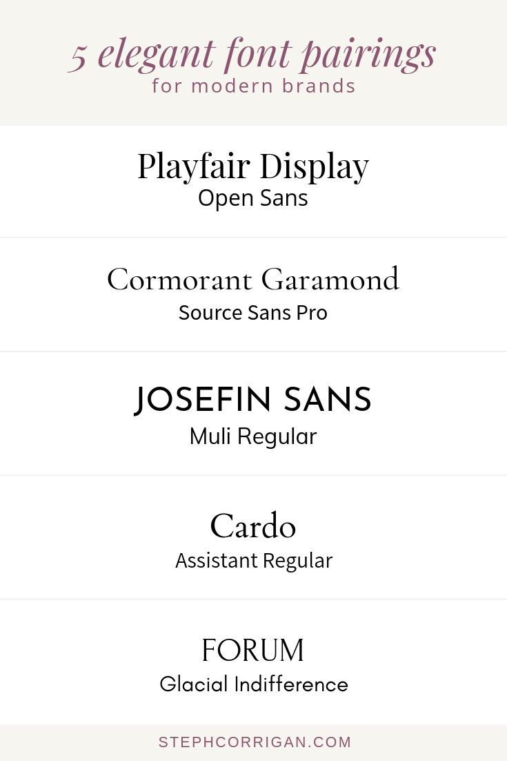 5 Elegant Font Pairings For Modern Brands These Font Combinations Are Perfect For Brands That Are Trendy Yet Timeless Elegant Font Font Pairing Brand Fonts