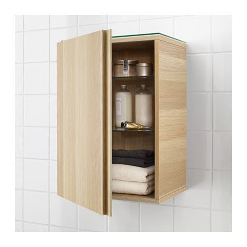 """GODMORGON Wall cabinet with 1 door - white stained oak effect, 15 3/4x11 3/4x22 7/8 """" - IKEA"""