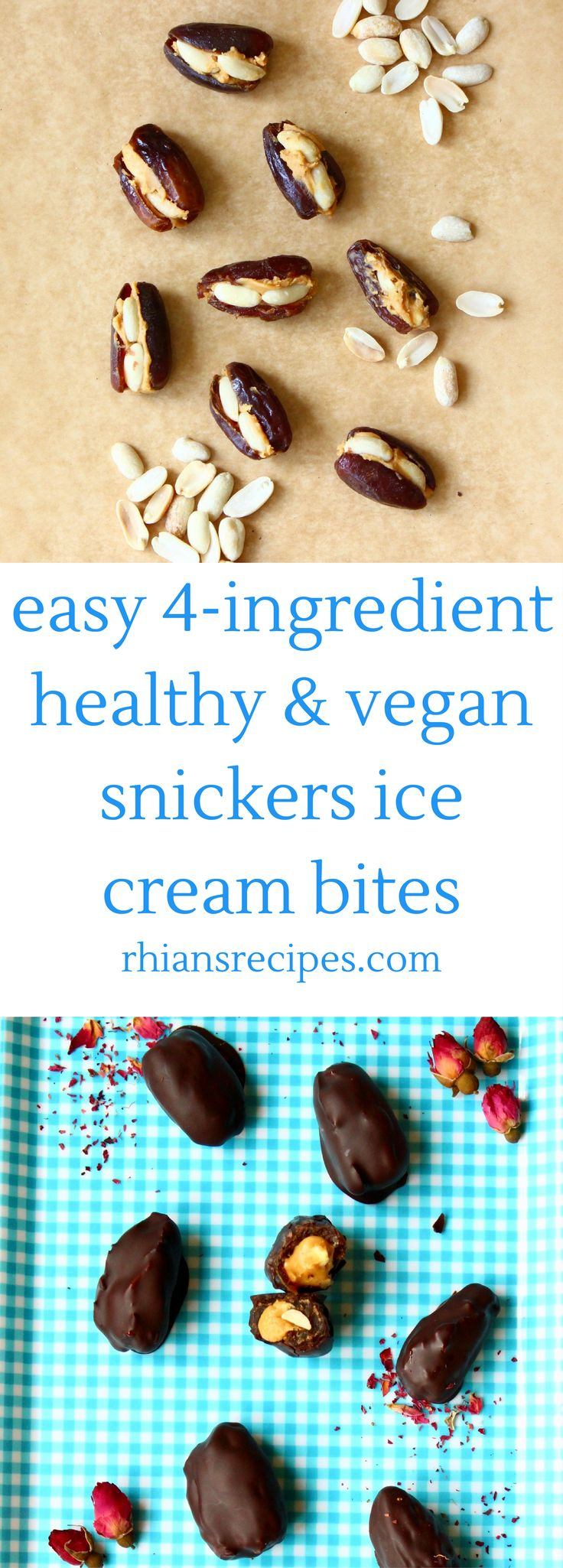 These 4-ingredient Healthy Snickers Ice Cream Bites are highly shareable, insanely moreish and taste deceptively rich and indulgent. They're also vegan and unbelievably quick and easy to make.