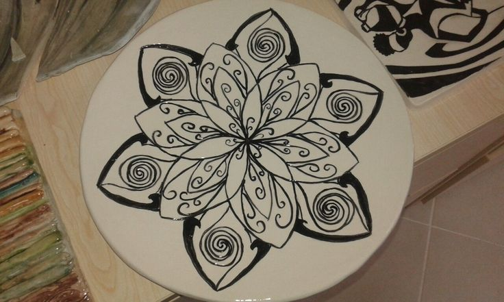 Black and white plate hand made and painted...
