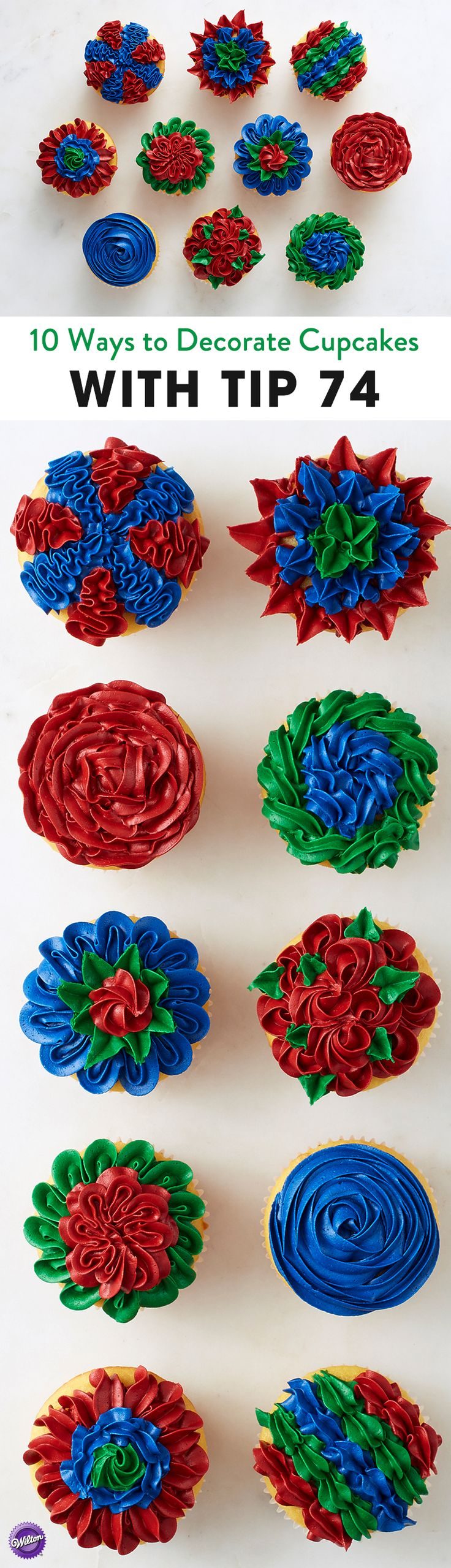 10 Ways to Decorate Cupcakes with Wilton Tip 74 - Just because decorating tip 74 is designed for leaves doesn't mean you can't use it for other designs! Great for piping shells, roses, rosettes, ruffles and more, this decorating tip can add amazing texture and style to your cake or cupcakes.