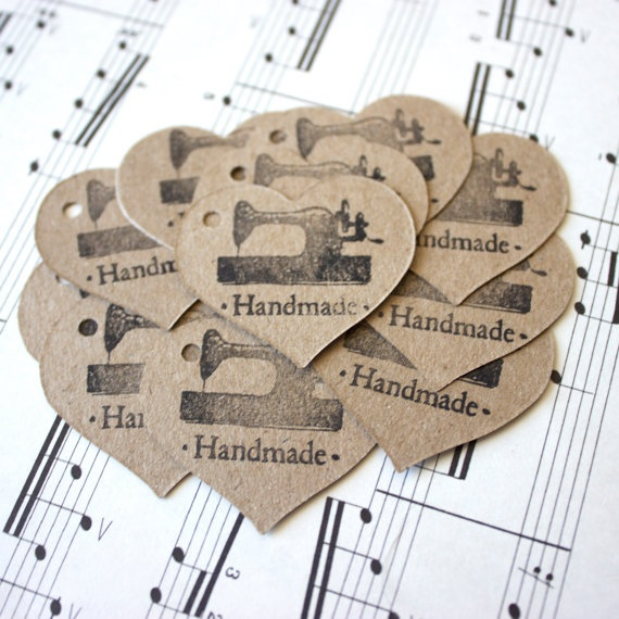 Handmade Gift Tags  hand stamped tags  by MaybeSparrowDesigns