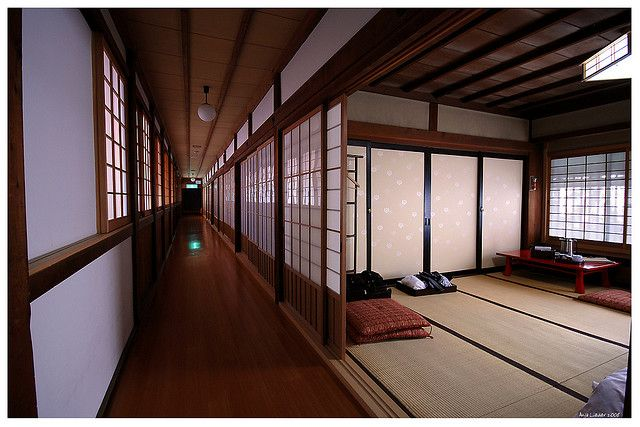 Engawa corridor with shoji wall panels and tatami mats are trademarks of traditional Japanese architecture.