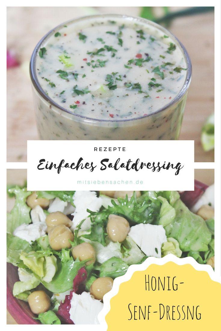 Einfaches Honig-Senf-Salatdressing für ein schnelles Abendessen.