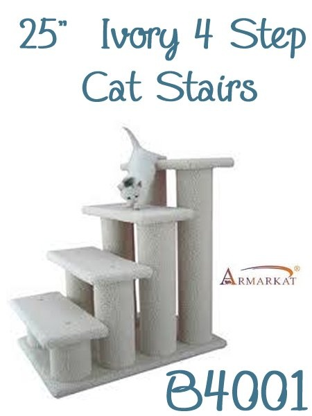 the b4001 armarkat 25 inch ivory 4 step cat stairs are excellent for all older cats