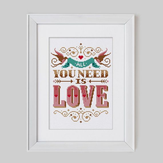 All you need is Love - Cross Stitch Pattern (Digital Format - PDF)